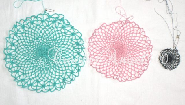Spider web doilies numbers one, two and three respectively
